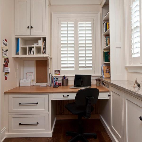 Elegant Small Office Design With Built In Furniture In Corners