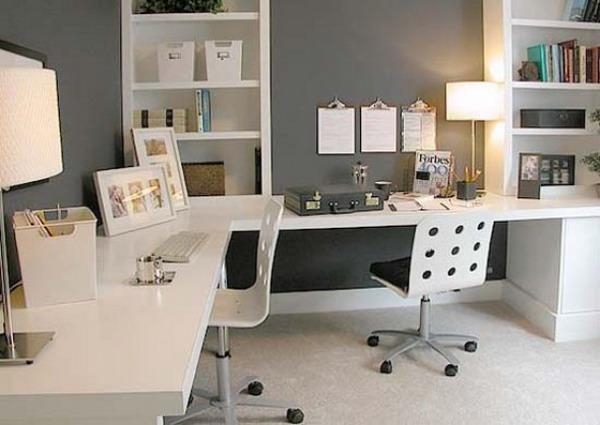 Contemporary Home Office With Built In Furniture For Two