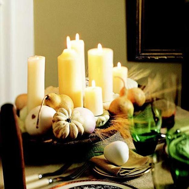 Candles Centerpiece Ideas For Inexpensive Thanksgiving Decorating