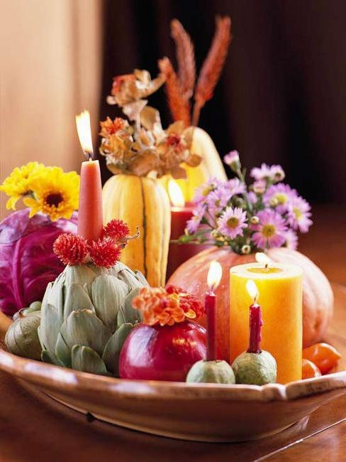 Candles centerpiece ideas for thanksgiving decorating
