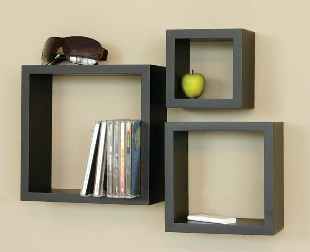 Creative Wall Decoration With Picture Frame And Display Case Shelves