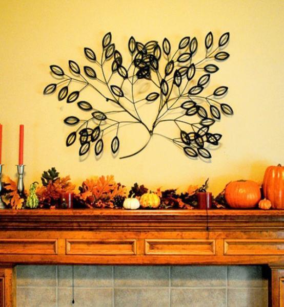 Colorful Fall Decorating in Vintage Style for Fireplace Mantels