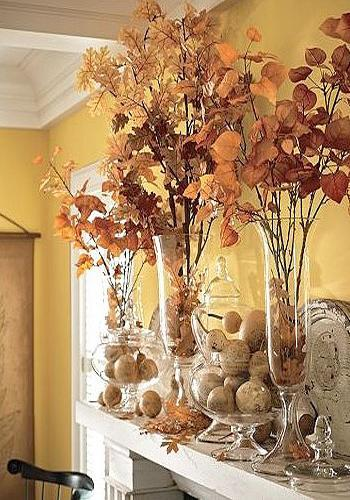Colorful Fall Decorating In Vintage Style For Fireplace