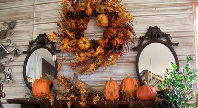 fall decorations for fireplace mantel in vintage style