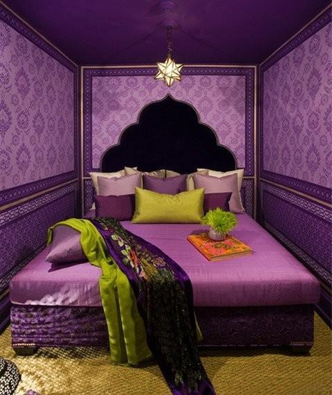 Modern Bedroom Design And Decor In Purple Green Colors
