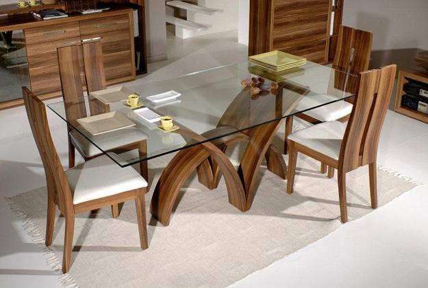 Gl Top Dining Table With Wooden Base