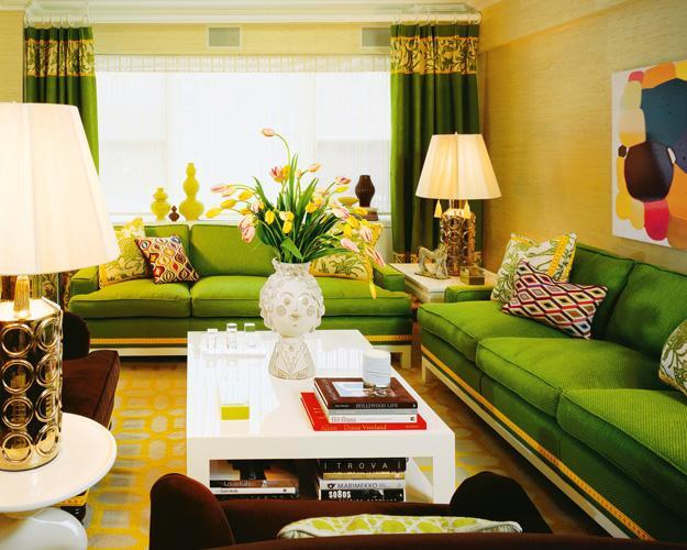 Modern Living Room Design In Green Yellow And Brown Colors