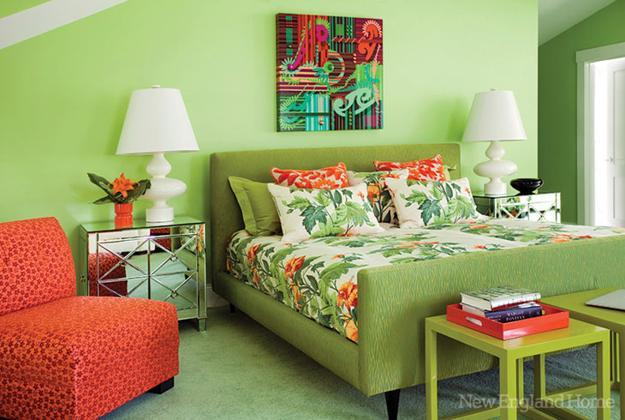 Modern Bedroom Decorating In Green And Orange Colors