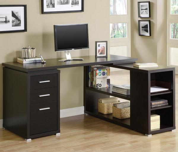 Space Saving Built In Office Furniture In Corners: 15 Modern Home Office Designs With Corner Furniture In
