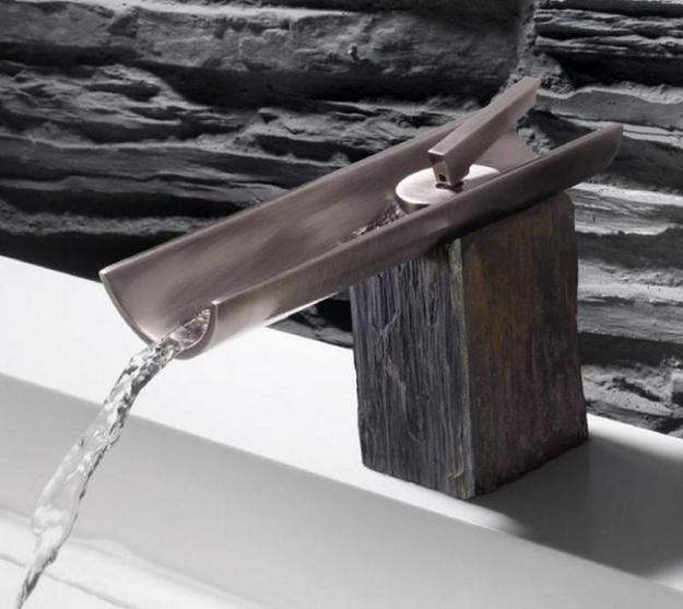 modern bathroom fixtures made of stone, wood and metal