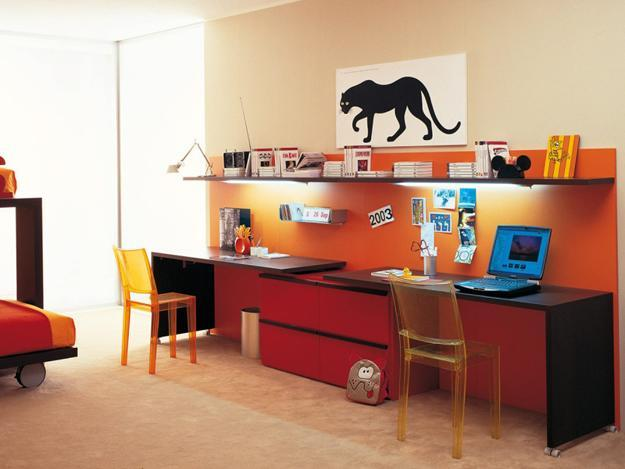 Colorful Work Spaces For Two. Contemporary Home Office For Two
