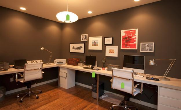 20 space saving office designs with functional work zones for two. Black Bedroom Furniture Sets. Home Design Ideas