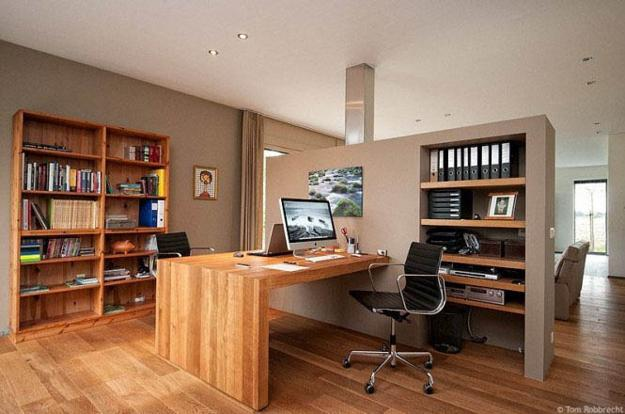 modern home office with wooden desk and shelving units for two ofice work c