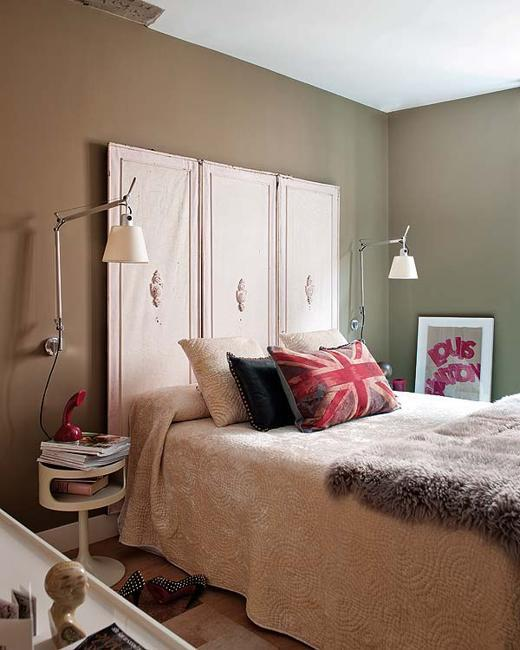 Modern Bedroom Decorating With Red Accents And Brown Painted Wall