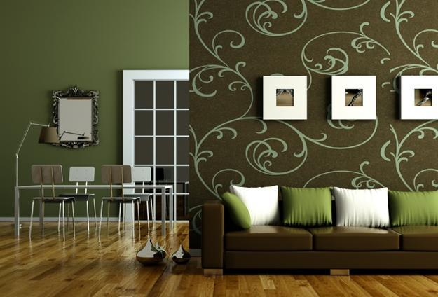 Modern Living Room Design In Brown And Green Colors