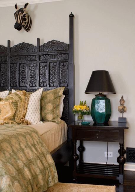 Moroccan Bedroom Decor Carved Wood Bed Headboard In Black Color