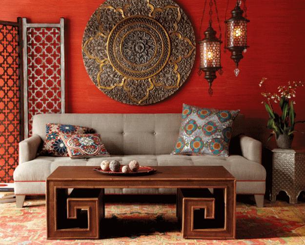 Moroccan Interior Decorating Ideas, Bright Red Color, Unique Moroccan  Lamps, Room Furniture And Decorative Accessories