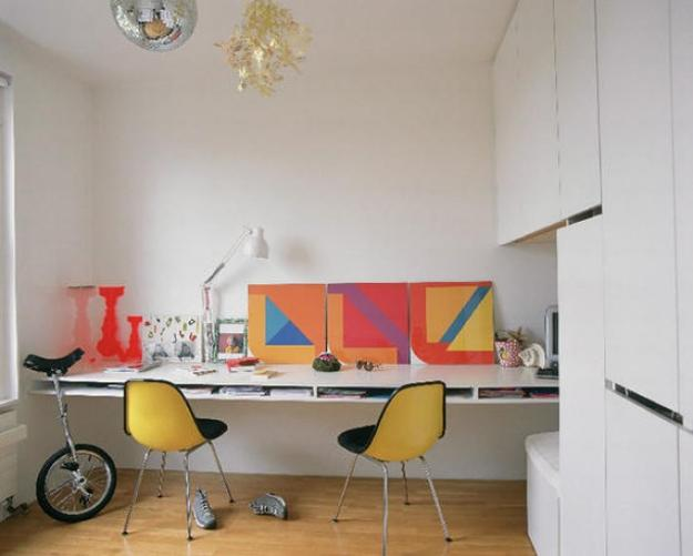 White Decorating And Bright Yellow Red Blue Green Room Colors For Small Home Office Design In Scandinavian Style