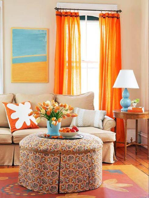 Living Room Decorating In Orange And Turquoise Colors, Interior Paint And  Decor Color Matching Ideas