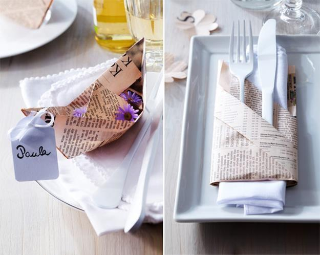 Recycling Old Paper For Table Decorations
