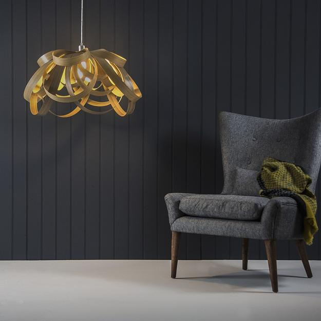 unique lighting design, modern lighting fixtures made with wood and inspired by flower petals