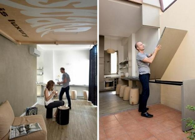 Built into ceiling beds space saving retractable beds for for Bed built into floor