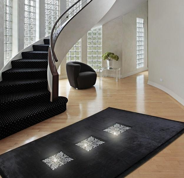 modern floor rugs made with swarovski crystals