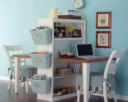 Compact Home Office Design For Small Rooms Two Work Areas Separated By Shelving Unit
