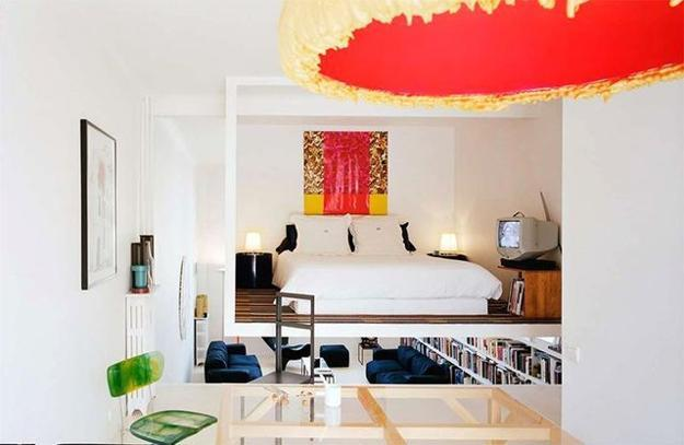 Furniture Interior View Space Saving Designs For Small: Small Apartment With Suspended Bedroom Enhancing Space