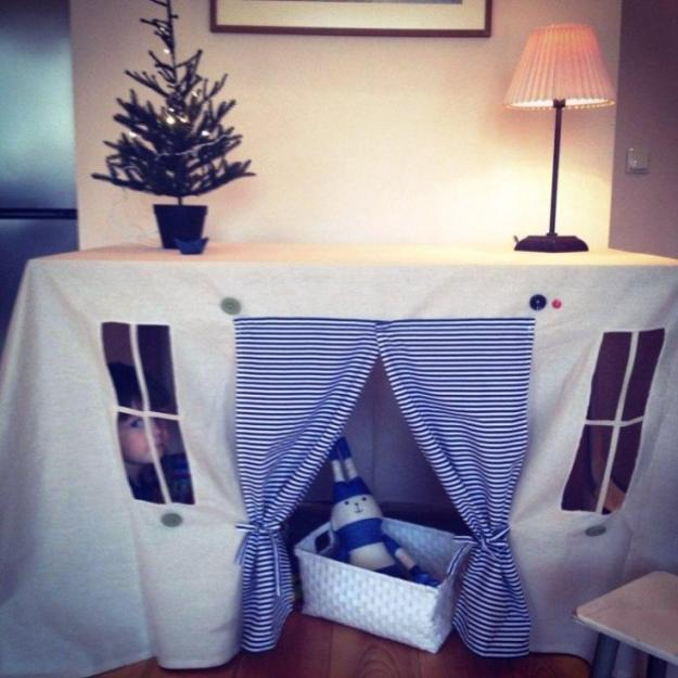 Great Design Idea Turns Table Cover Into Kids Tent