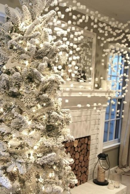 two or more matching colors combined with black or white decorating ideas will add a bright joyful and festive feel to your winter holiday decor - White Christmas Decorating Theme