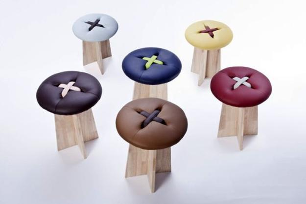 designer furniture, wooden stools with colorful button shaped seats made of leather