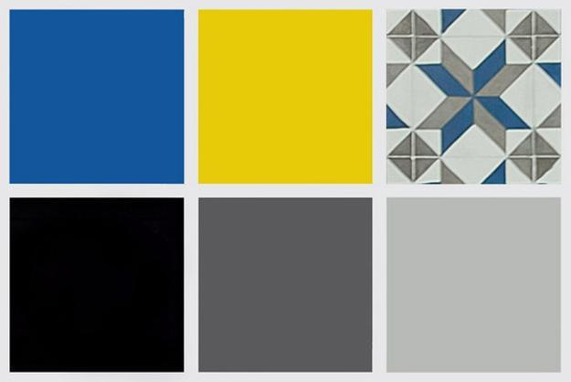 Modern Interior Design Color Scheme For Men Gray Tones Bright Yellow And Blue Colors
