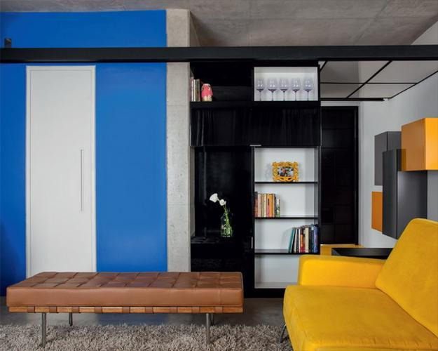 decorating small apartment with bright yellow and blue colors