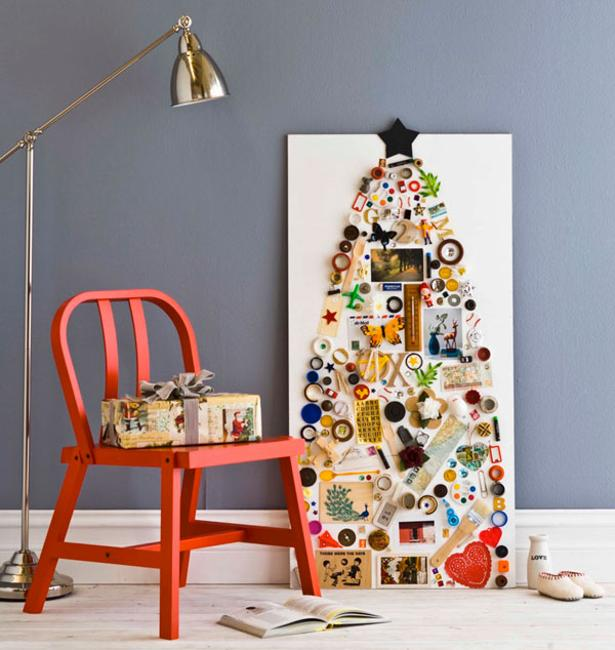 Fun And Bright Living Room Color Ideas Wrapping Comfort: 40 DIY Alternative Christmas Trees Adding Fun Wall