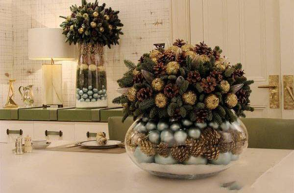 ways to reuse christmas decorations for new years eve party table centerpieces
