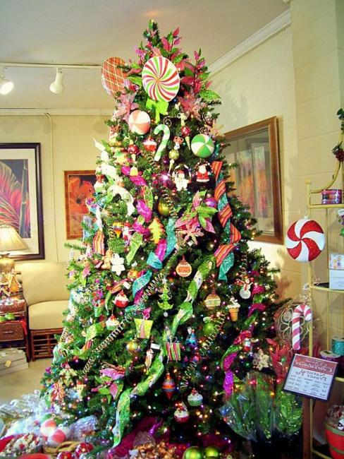 colorful christmas tree decoration with pink and purple ornaments and ribbons - Pink Christmas Decorations Ideas
