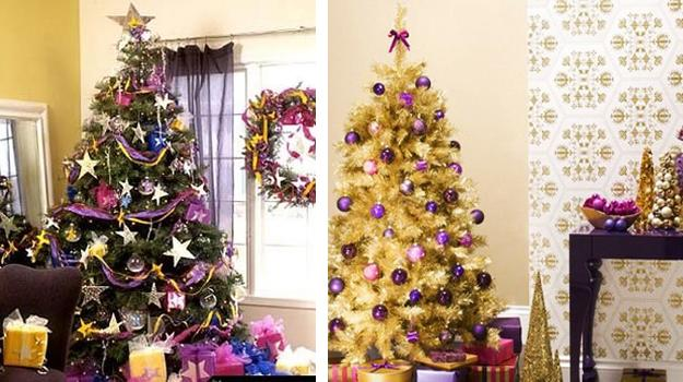 modern ideas for christmas tree decoration with purple and pink color shades - Colorful Christmas Tree Decorations