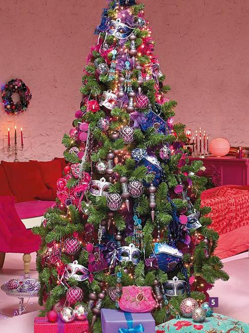 christmas tree decoration blending purple and pink colors into winter holiday decor