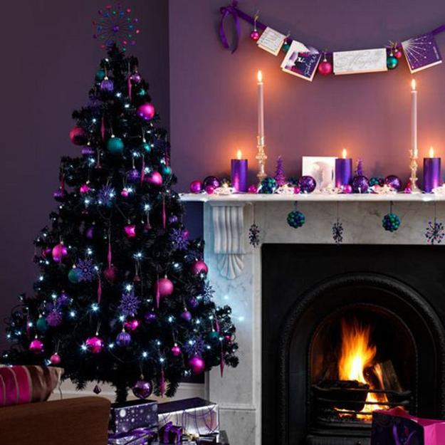 purple wall paint and christmas tree decorations in purple and pink colors purple candles centerpieces for christmas fireplace decorating - Purple Christmas Decorations