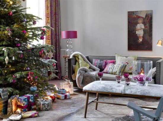 christmas decorating with purple and pink