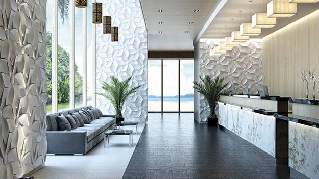 wall decoration with concrete wall tiles