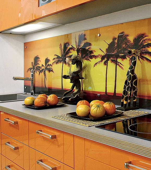 Colorful Glass Backsplash Ideas Adding Digital Prints to Modern ...