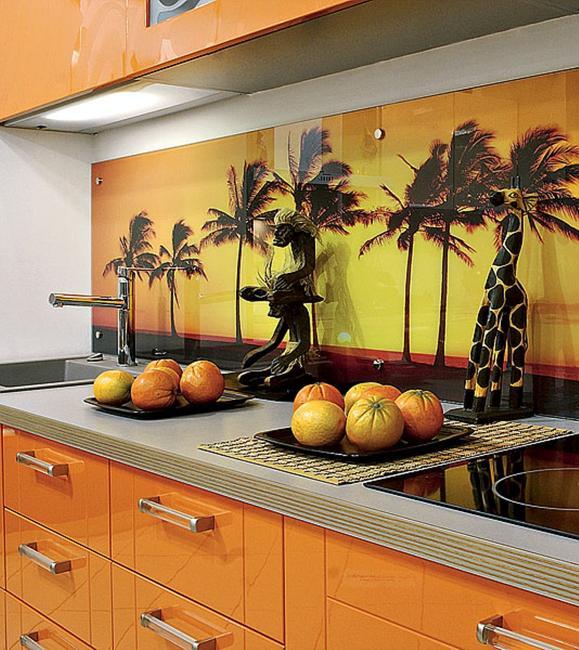 Unique Kitchen Designs: Colorful Glass Backsplash Ideas Adding Digital Prints To Modern Kitchen Design