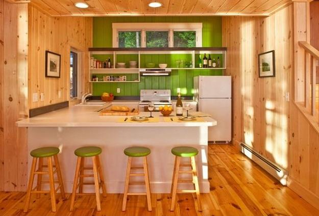 modern kitchen interiors in green color