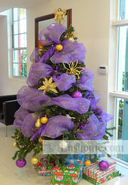 Purple Christmas Tree.Fun Christmas Tree Decorating With Colorful Ribbons