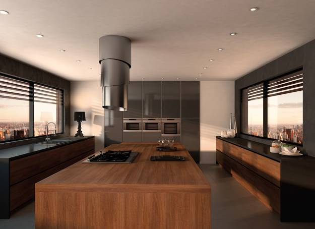 Contemporary Kitchen Design With Steel Hood