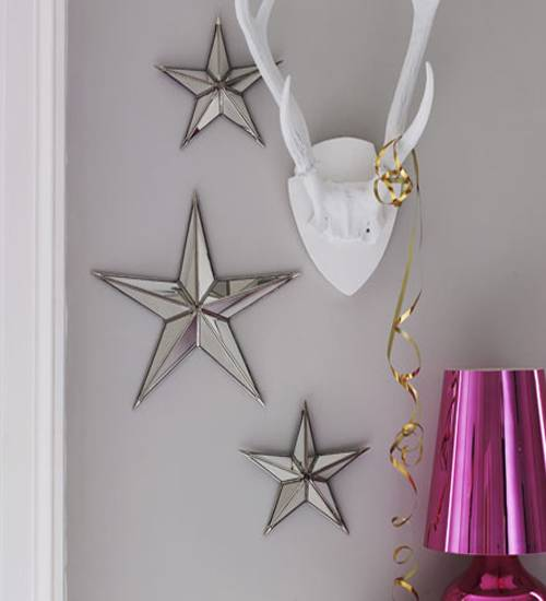 new years eve and christmas decorating with star ornaments and crafts