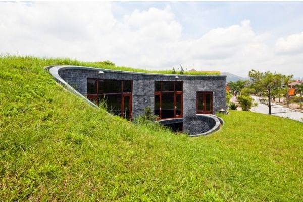 green buildings, modern houses with green roofs