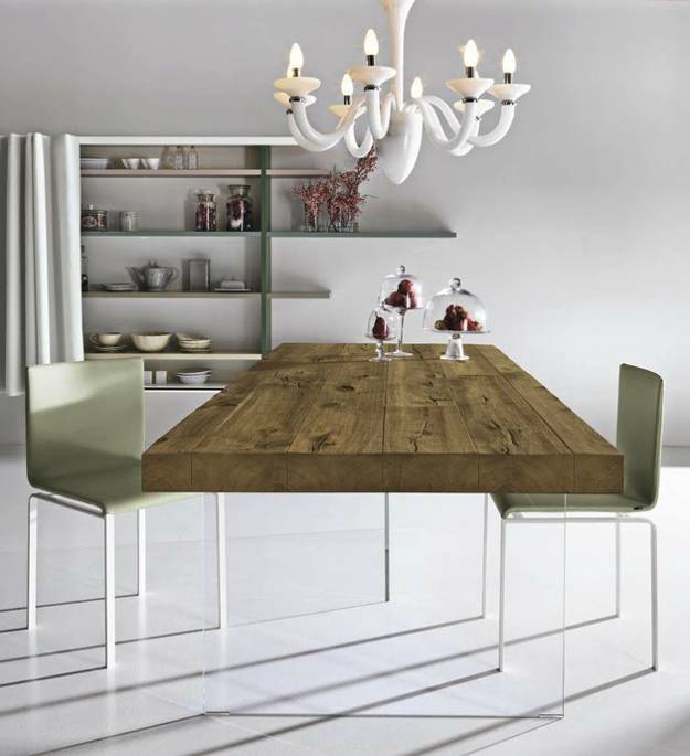 modern furniture design, dining table with wooden top and glass panel base